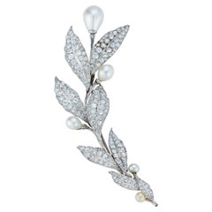 Antique Natural Pearl and Diamond Flower Brooch or Hairpiece