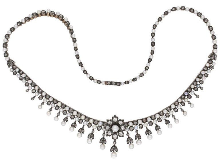 Victorian Antique Natural Pearl and Diamond Necklace, circa 1880 For Sale