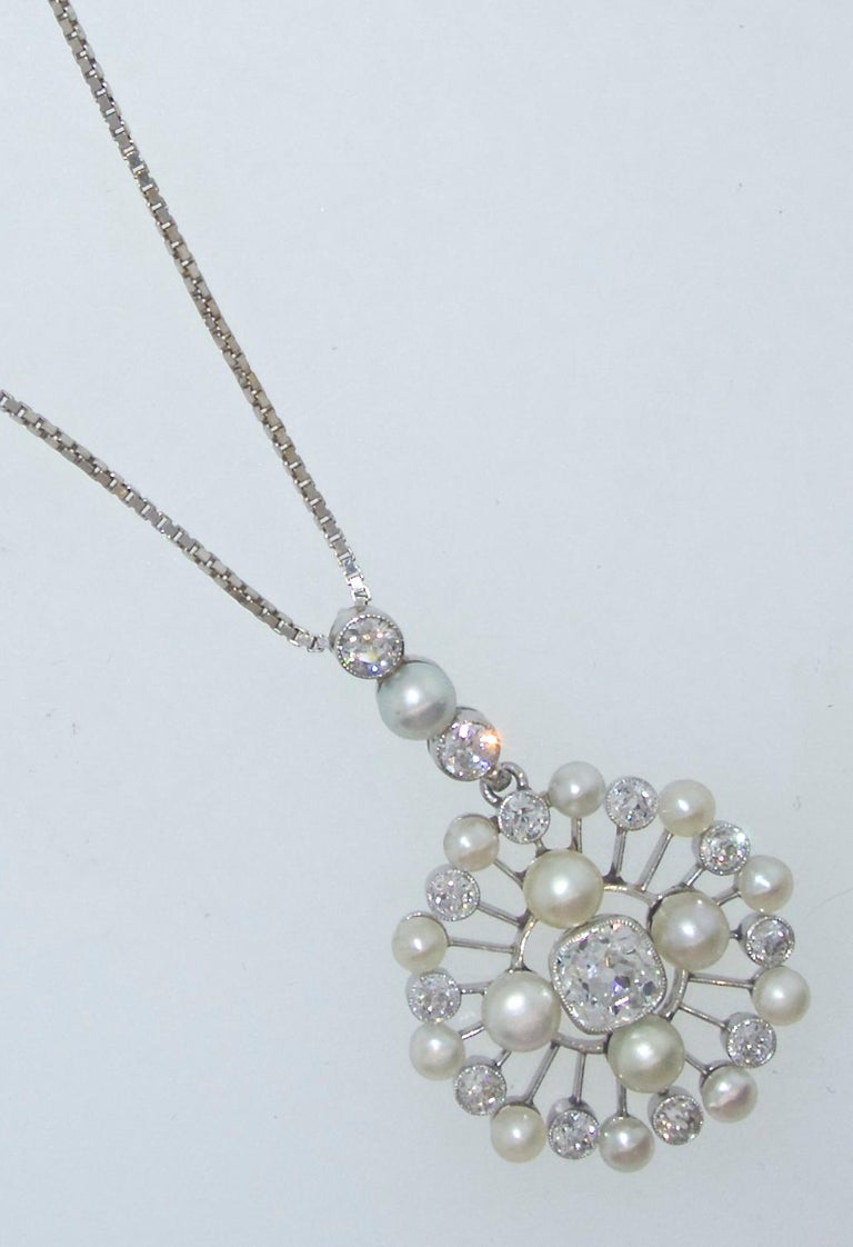 Platinum, diamond and natural pearl pendant, Edwardian, circa 1910.  There are 15 natural pearls and a total diamond weight of 1.65 cts.  The old European and mine  cut diamonds are near colorless (H/I) and slightly included.  Suspended on a modern