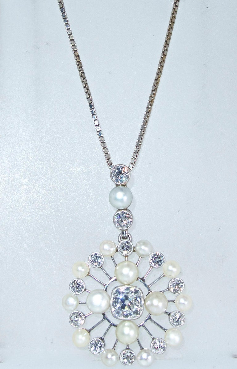 Edwardian Antique Natural Pearl and Diamond Pendant Necklace, circa 1910 For Sale