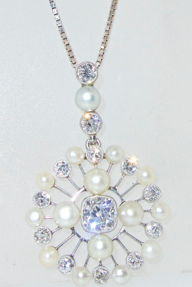 Antique Natural Pearl and Diamond Pendant Necklace, circa 1910 In Excellent Condition For Sale In Aspen, CO