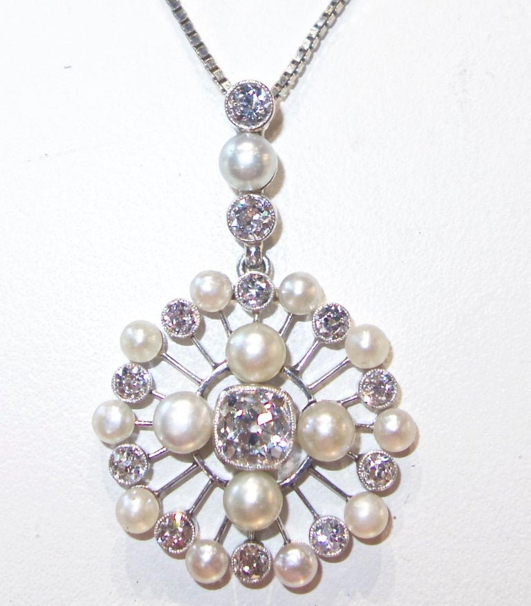 Antique Natural Pearl and Diamond Pendant Necklace, circa 1910 For Sale 1