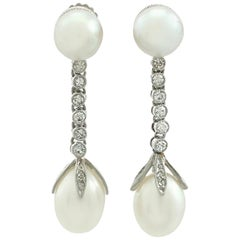 Antique Natural Pearl and Diamond Platinum Drop Earrings, circa 1910