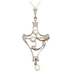 Antique Natural Pearl and Diamond Yellow Gold Pendant Brooch