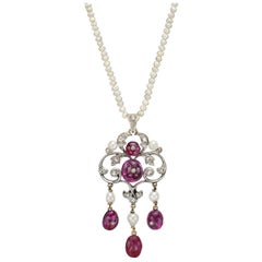 Antique Natural Pearl and Ruby Pendant Necklace
