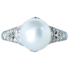 Antique Natural Pearl, Diamond and Platinum Ring, GIA Certified, circa 1910