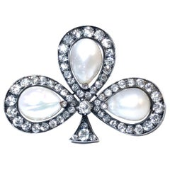 Antique Natural Pearl, Diamond and Silver Topped Gold Brooch