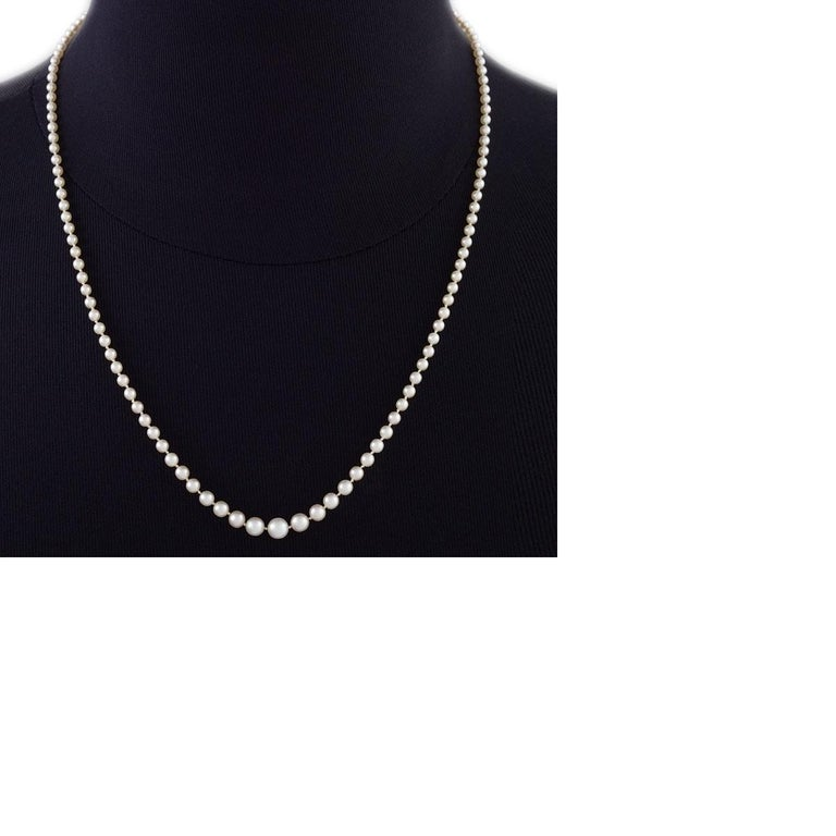 Antique Natural Pearl Necklace with Diamond Clasp For Sale 1