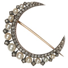 Antique Natural Pearl Rose Cut Diamond Silver Upon Gold Crescent Brooch