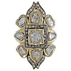 Antique Natural Rose Cut Diamond Pave Ring in Yellow Gold