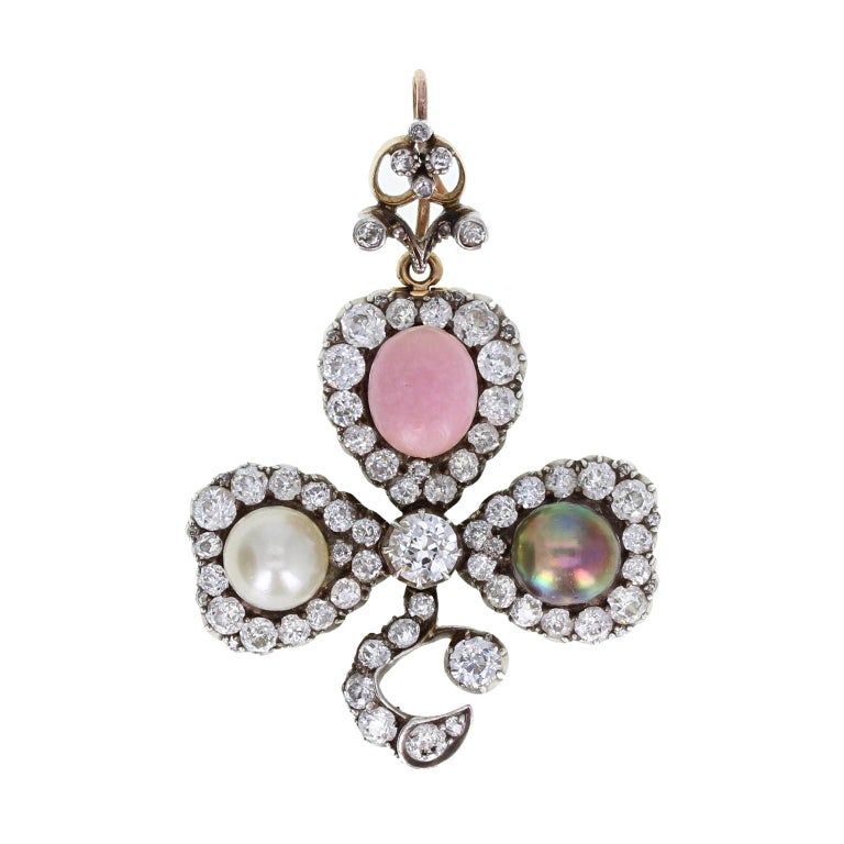 Late Victorian Antique Natural Saltwater and Conch Pearl Diamond Silver Gold Pendant Brooch For Sale