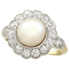 Antique Natural Saltwater Pearl and 1.43 Carat Diamond Yellow Gold Cluster Ring