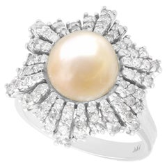 Antique Natural Saltwater Pearl and Diamond White Gold Cocktail Ring Circa 1930