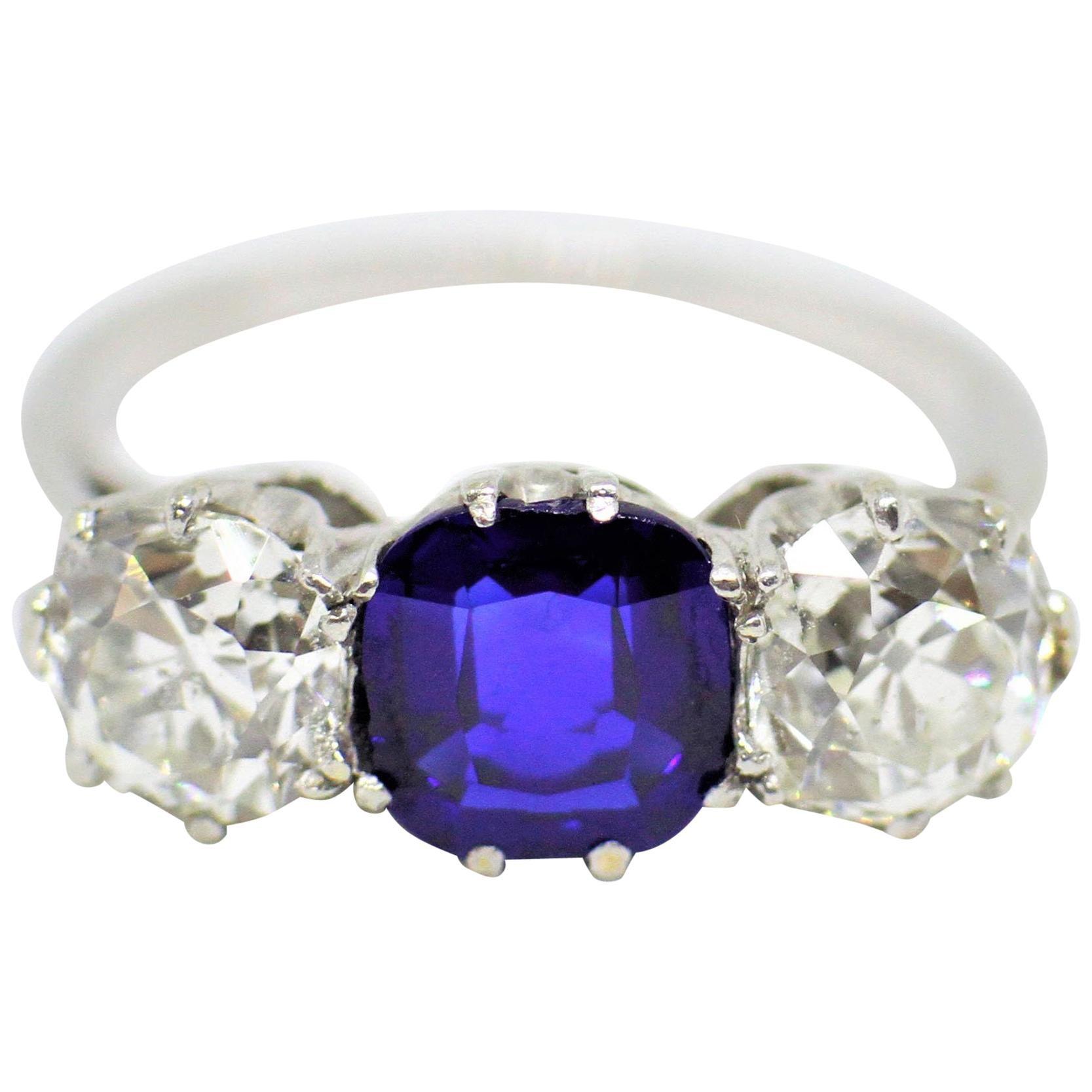 Antique Natural Unheated Sapphire and Diamond Three-Stone Ring, circa 1910