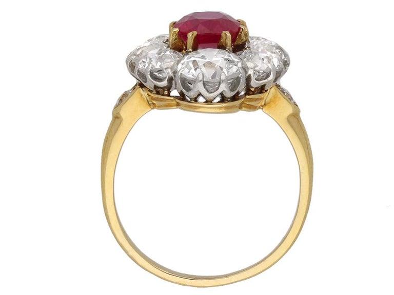303e6c3129b21 Antique Natural Unenhanced Burmese Ruby Diamond Cluster Ring, circa 1905