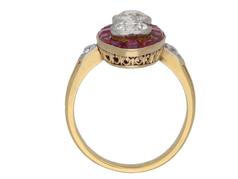 Edwardian Antique Natural Unenhanced Marquise Ruby Diamond Ring, circa 1900 For Sale