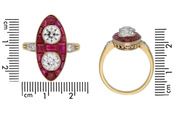 Antique Natural Unenhanced Marquise Ruby Diamond Ring, circa 1900 In Good Condition For Sale In London, GB