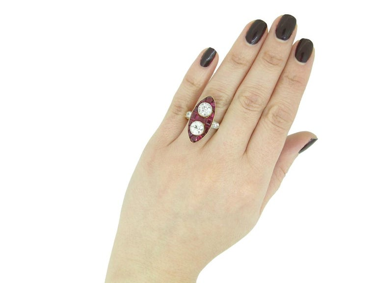 Women's Antique Natural Unenhanced Marquise Ruby Diamond Ring, circa 1900 For Sale