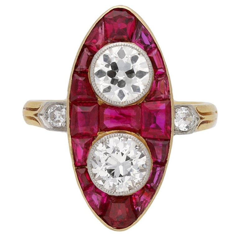 Antique Natural Unenhanced Marquise Ruby Diamond Ring, circa 1900 For Sale