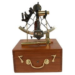 Antique Nautical English Sextant of Burnished Brass with Mahogany Box Early 1900