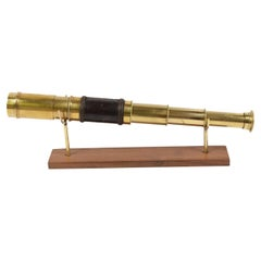 Antique Nautical Telescope, Brass and Leather, Mid-19th Century