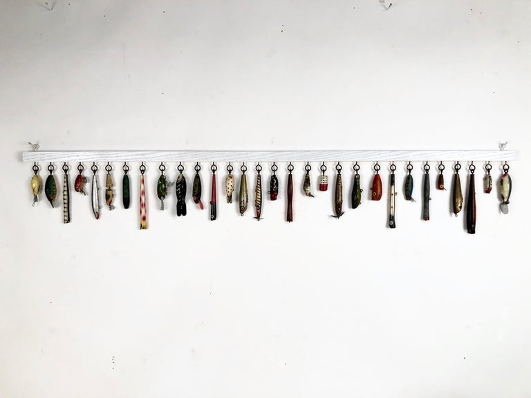 Folk Art Antique Nautical Wooden Fishing Lure Display Custom Mounted For Sale