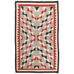 Antique Navajo Carpet, Folk Rug, Handmade Wool, Beige, Gray, Blood Orange