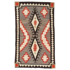 Antique Navajo Carpet, Folk Rug, Handmade Wool, Beige, Gray, Orange, and White