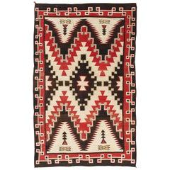 Antique Navajo Carpet, Folk Rug, Handmade Wool, Beige, Gray, Soft Coral