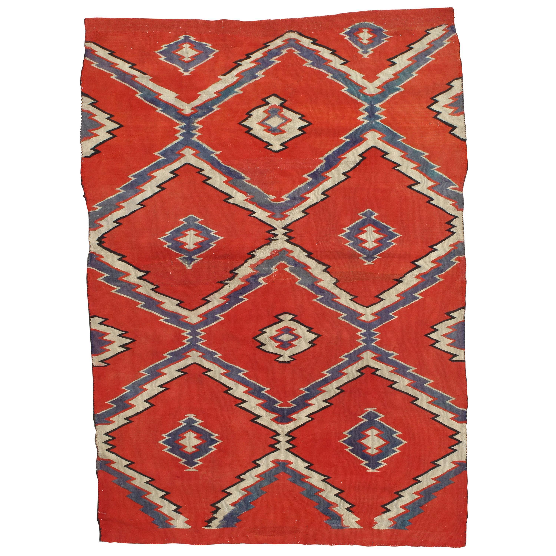 Antique Navajo Carpet, Folk Rug, Handmade Wool, Blue, Beige, Orangey Red