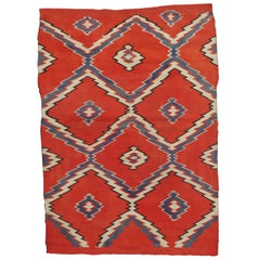 Antique Navajo Carpet, Folk Rug, Handmade Wool, Blue, Beige, Orangey Red
