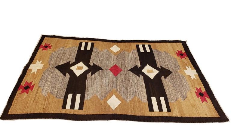 Antique Navajo Carpet, Handmade Rug, Brown, Blue, Beige, Taupe Soft Red Color For Sale 2