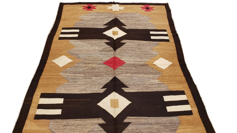 Antique Navajo Carpet, Handmade Rug, Brown, Blue, Beige, Taupe Soft Red Color For Sale 3