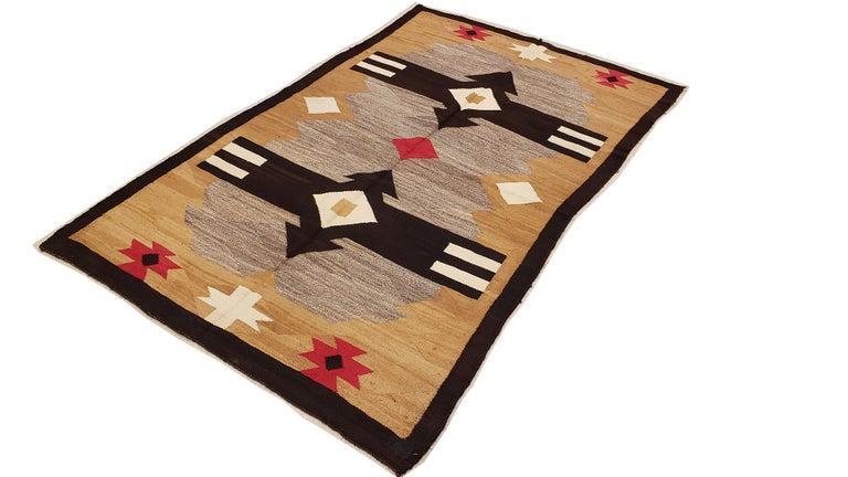 Antique Navajo Carpet, Handmade Rug, Brown, Blue, Beige, Taupe Soft Red Color For Sale 4