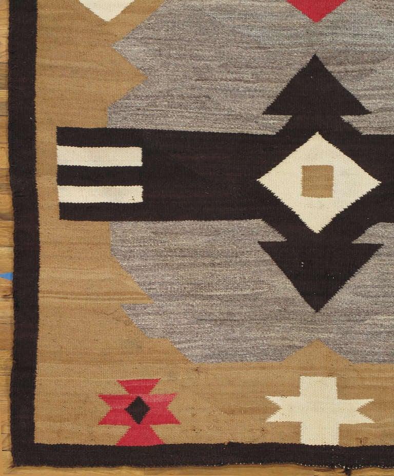 Native American Antique Navajo Carpet, Handmade Rug, Brown, Blue, Beige, Taupe Soft Red Color For Sale