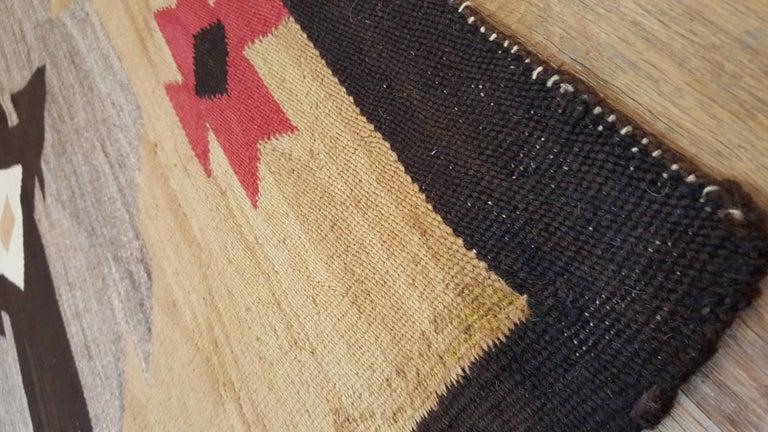 American Antique Navajo Carpet, Handmade Rug, Brown, Blue, Beige, Taupe Soft Red Color For Sale
