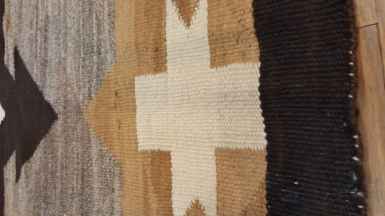 Hand-Knotted Antique Navajo Carpet, Handmade Rug, Brown, Blue, Beige, Taupe Soft Red Color For Sale
