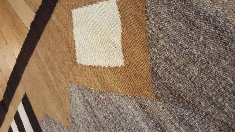 Wool Antique Navajo Carpet, Handmade Rug, Brown, Blue, Beige, Taupe Soft Red Color For Sale