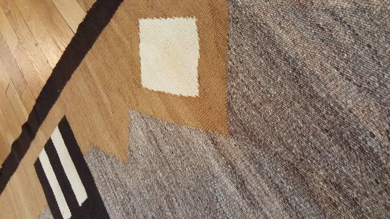 Antique Navajo Carpet, Handmade Rug, Brown, Blue, Beige, Taupe Soft Red Color For Sale 1