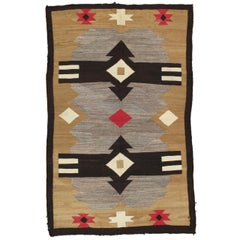 Antique Navajo Carpet, Handmade Rug, Brown, Blue, Beige, Taupe Soft Red Color