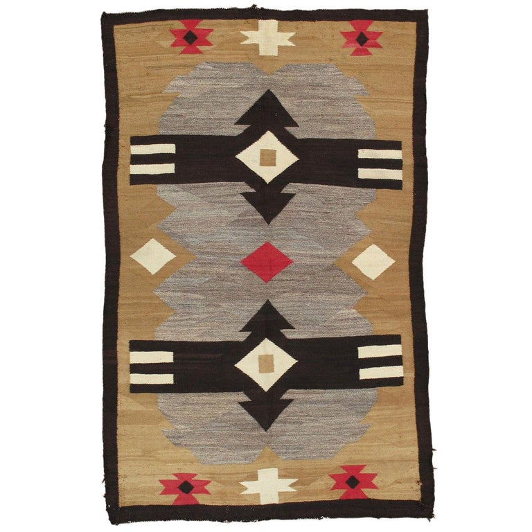Antique Navajo Carpet, Handmade Rug, Brown, Blue, Beige, Taupe Soft Red Color For Sale