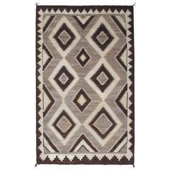 Antique Navajo Carpet, Handmade Wool, Ivory, Beige, Gray and Brown