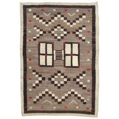 Antique Navajo Carpet, Oriental Rug, Handmade Wool Rug, Gray, Brown, and Red
