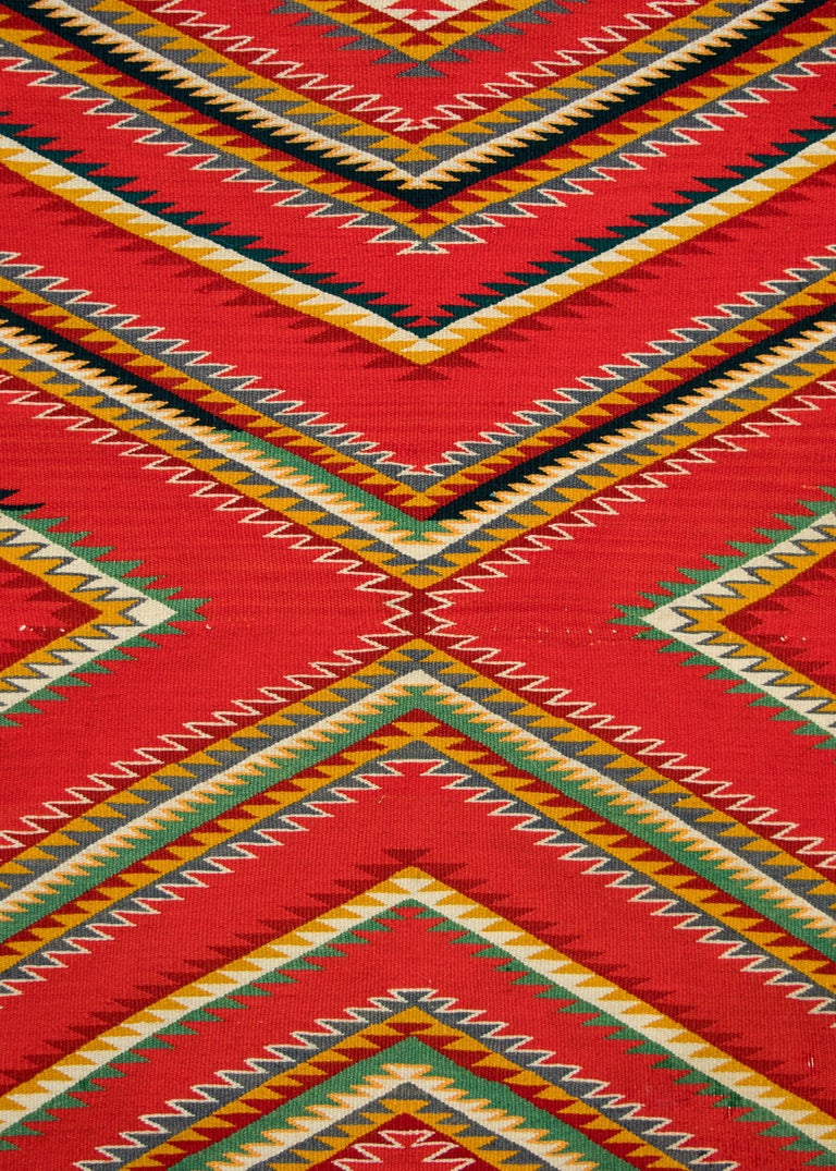Native American Antique Navajo Germantown Hand-Woven Wool Blanket, circa 1890, Red Field For Sale