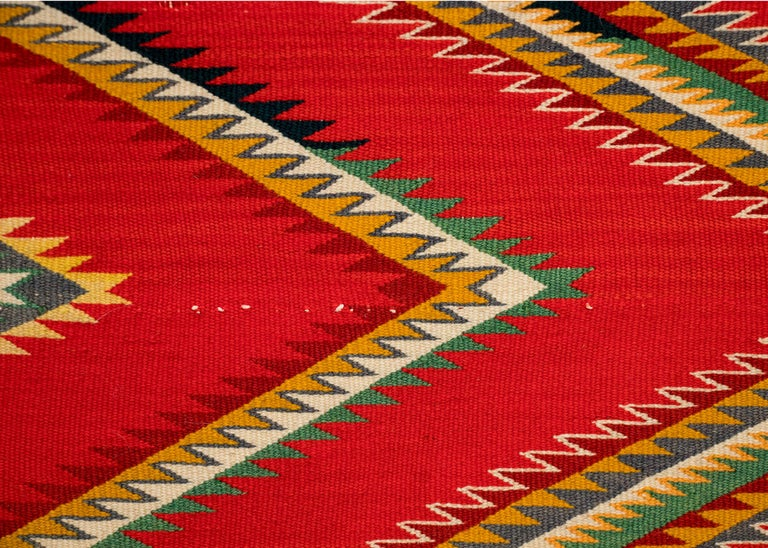 American Antique Navajo Germantown Hand-Woven Wool Blanket, circa 1890, Red Field For Sale