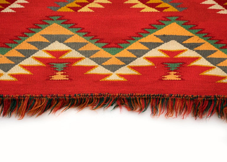 Antique Navajo Germantown Hand-Woven Wool Blanket, circa 1890, Red Field In Good Condition For Sale In Denver, CO