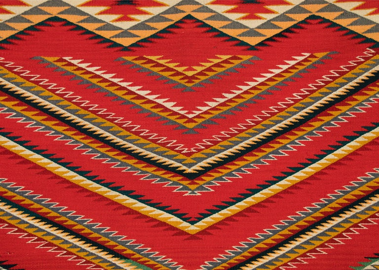 19th Century Antique Navajo Germantown Hand-Woven Wool Blanket, circa 1890, Red Field For Sale