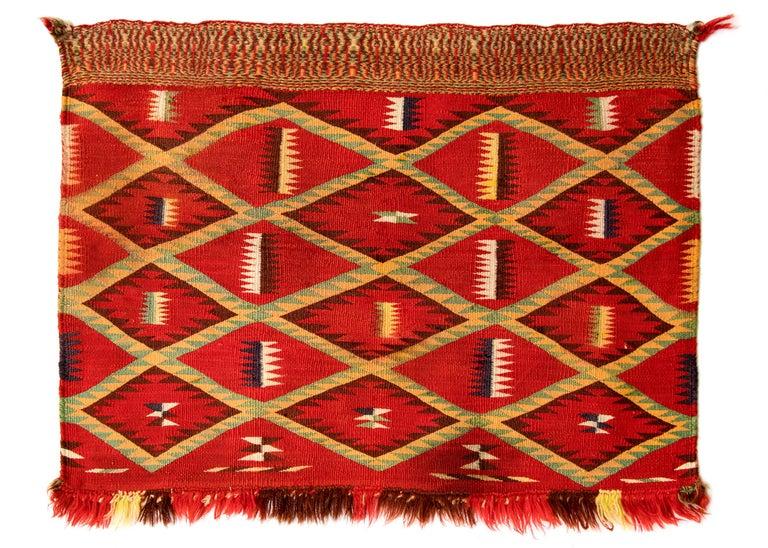 Antique Navajo Germantown Saddle Blanket Circa 1890