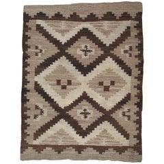 Antique Navajo Rug, Handmade Wool Oriental Rug, Beige, Gray and Brown