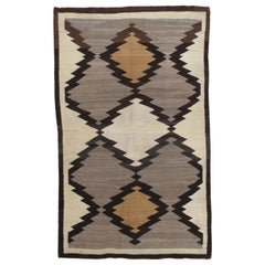 Antique Navajo Rug, Handmade Wool Oriental Rug, Gray, Beige, Caramel and Brown